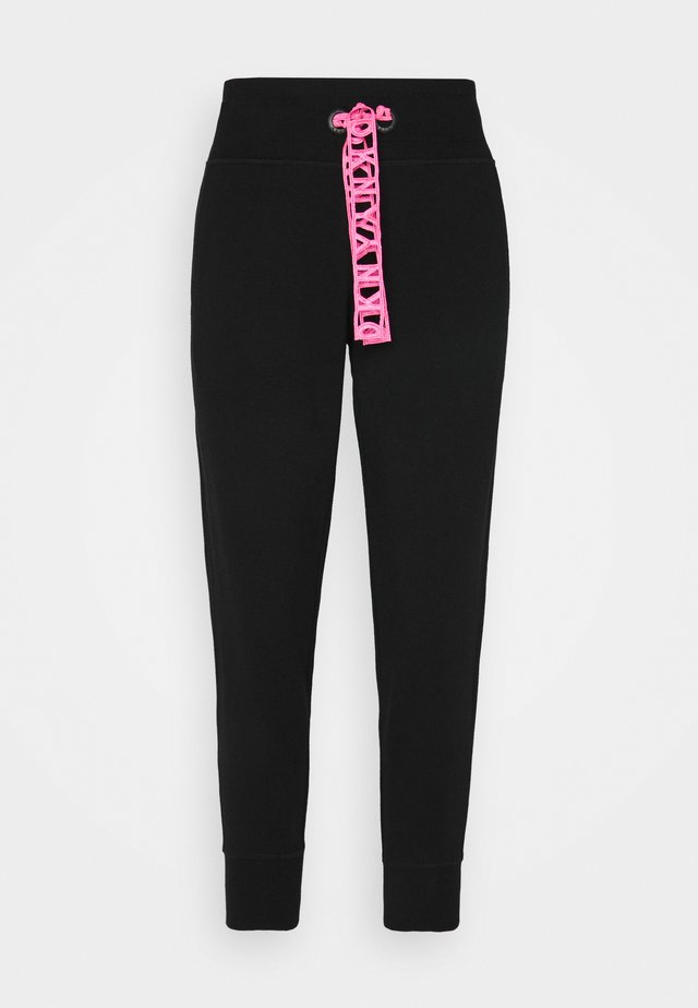 CROPPED JOGGER WITH LOGO DRAWCORD - Pantaloni sportivi - black