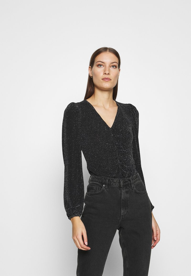 Dorothy Perkins - LUREX RUCHED FRONT - Long sleeved top - black