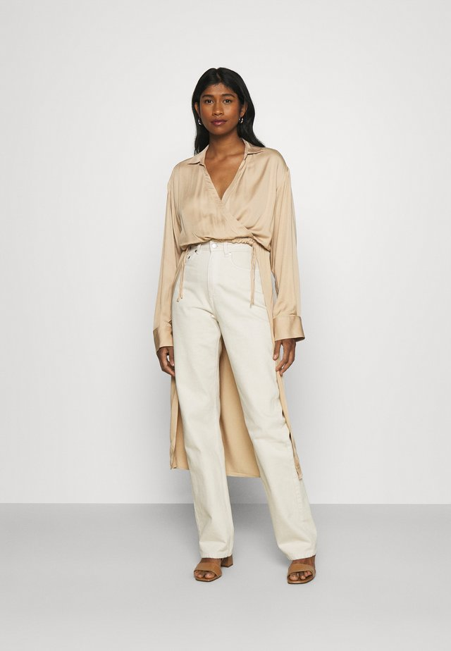 OVERLAP FRONT BLOUSE - Bluse - beige