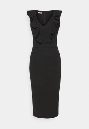 KIRA RUFFLE NECK MIDI DRESS - Jerseyklänning - black