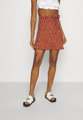 Minifalda - brown/white