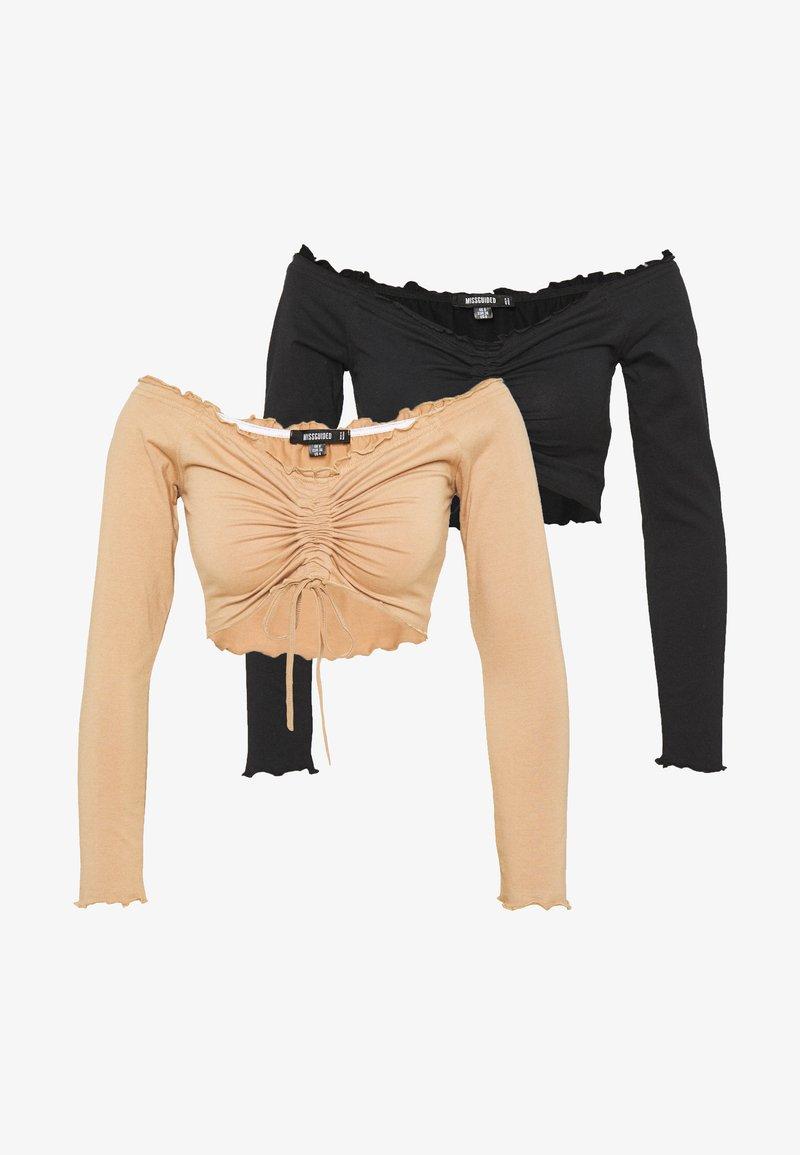 Missguided - BARDOT RUCHED LETTUCE HEM TOP 2 PACK - Long sleeved top - black/camel
