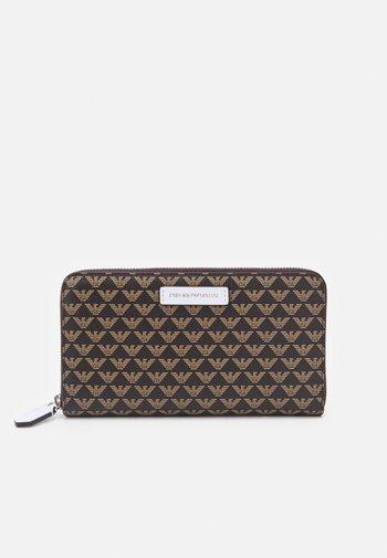 FOGLIO ZIP AROUND - Wallet - dark brown/white