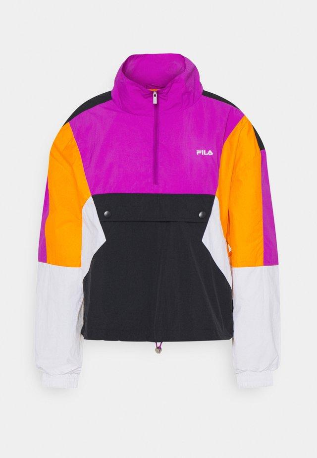 ANEKO - Windbreaker - black/bright white/purple/flame orange