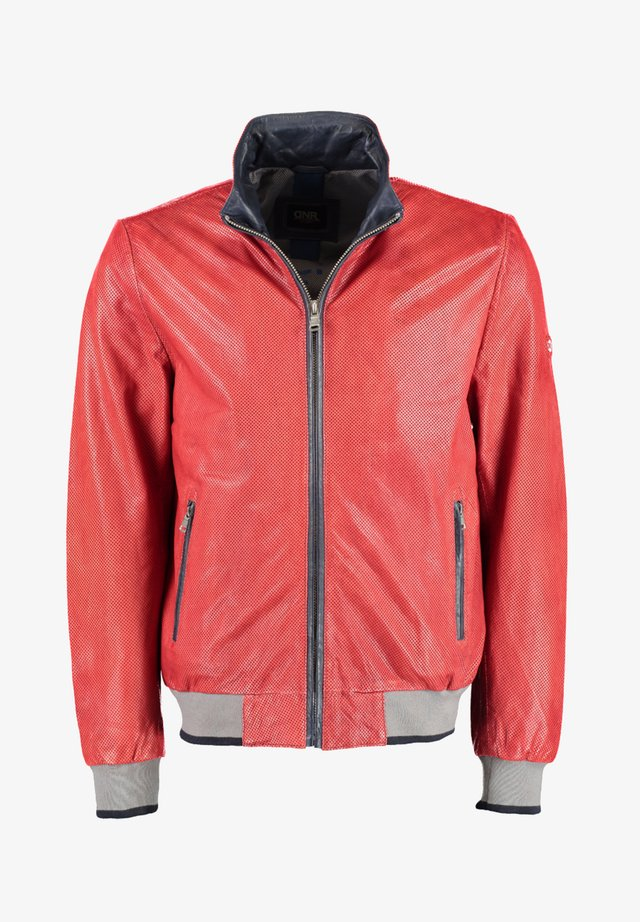 MIT KONTRASTELEMENTEN - Leather jacket - light red