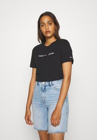 Tommy Jeans - MODERN LINEAR LOGO TEE - Print T-shirt - black - 0