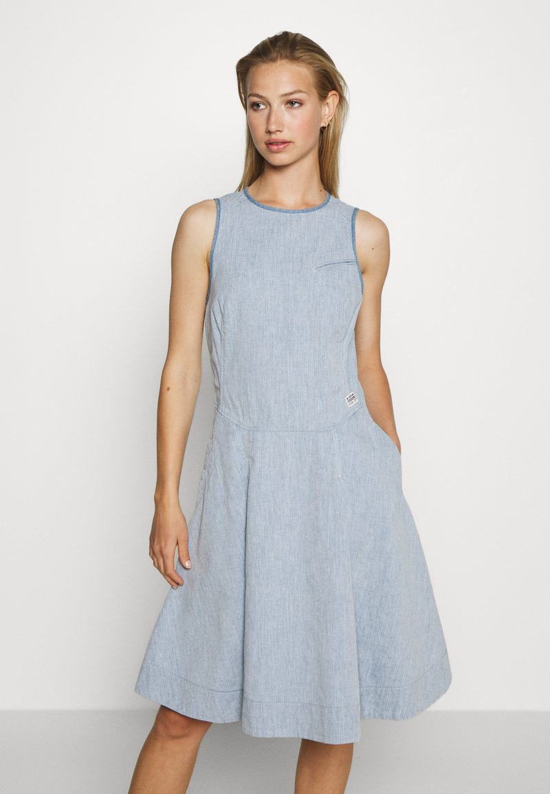 G-Star - FIT AND FLARE DRESS S\LESS - Denim dress - rinsed
