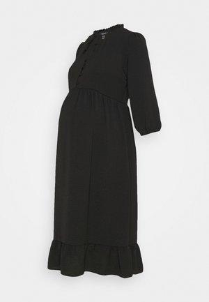 HBONE TIE DETAIL SMOCK DRESS - Košilové šaty - black