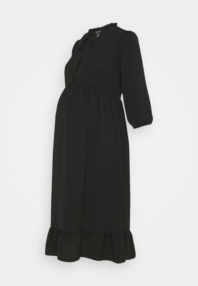 HBONE TIE DETAIL SMOCK DRESS - Shirt dress - black