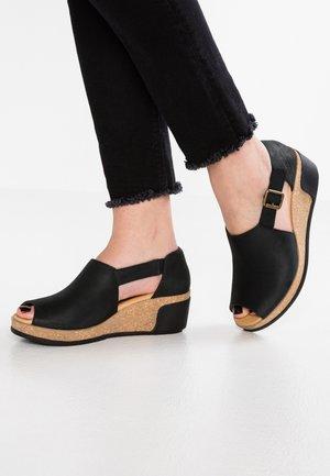 LEAVES - Platform sandals - black