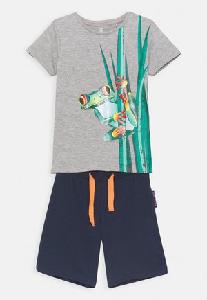 SMALL BOYS BERMUDA SET - Triko s potiskem - grey melange