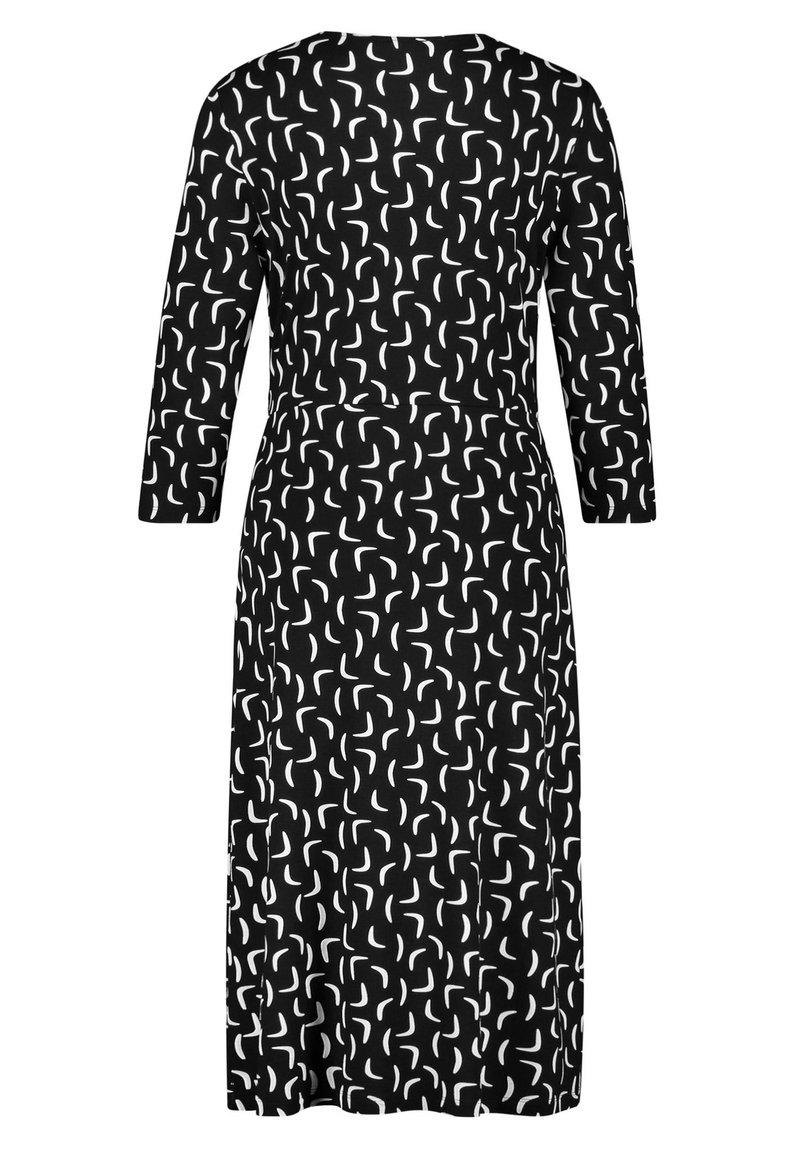 kleid gewirke kleid mit kontrastfarbigem muster - freizeitkleid -  schwarz/ecru/weiss druck