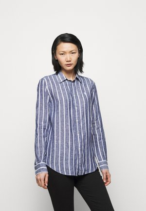 STRIPE LONG SLEEVE - Button-down blouse - navy/white