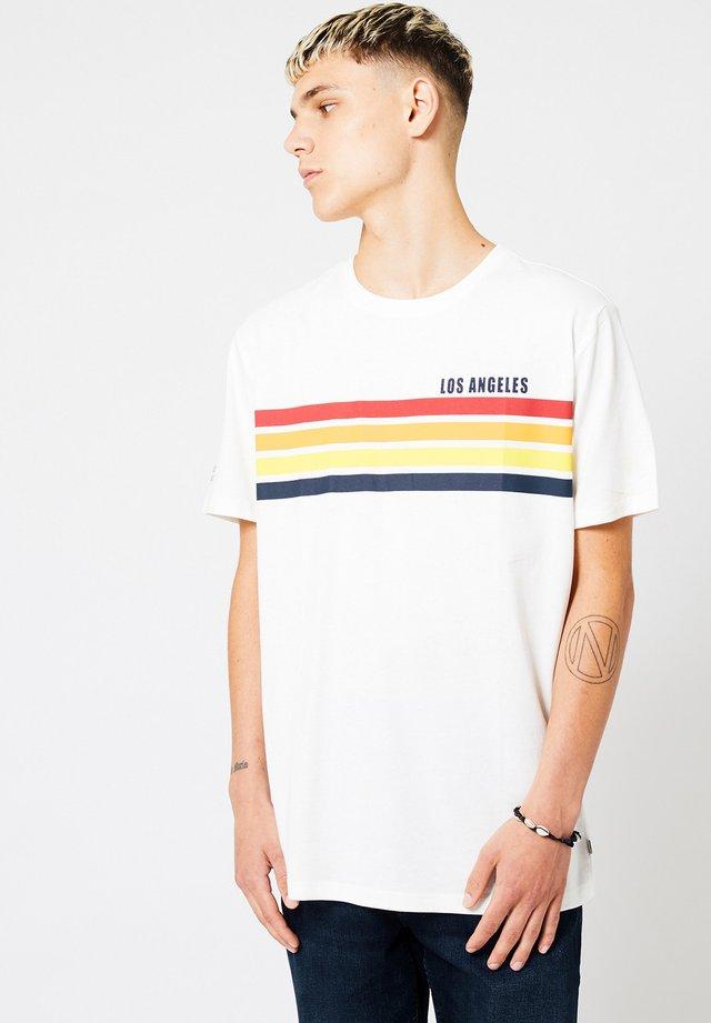 ELLO STRIPE - Print T-shirt - off white