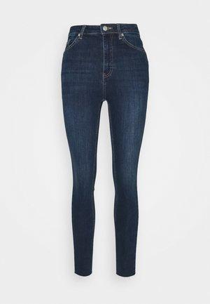 HIGH WAIST RAW HEM - Jeans Skinny Fit - dark blue