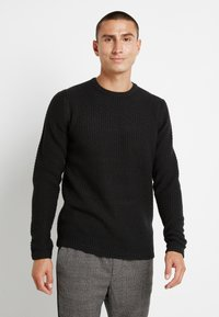 Only & Sons - ONSLOCCER CREW NECK - Stickad tröja - black - 0