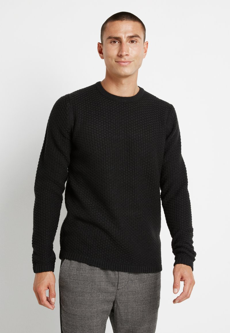 Only & Sons - ONSLOCCER CREW NECK - Stickad tröja - black