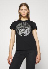 b.young - BXSEMONE TURN UP - Print T-shirt - black - 0