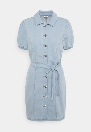 ONLVIBBE BELT DRESS - Denim dress - light blue denim