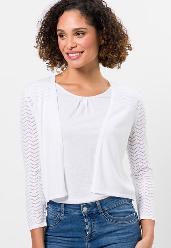 MIT AJOURSTRICKMUSTER - Cardigan - white