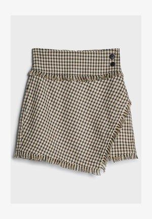 MIT AUSGEFRANSTEM SAUM UND KAROPRINT - A-snit nederdel/ A-formede nederdele - beige