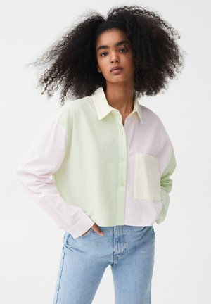 Button-down blouse - mottled light pink