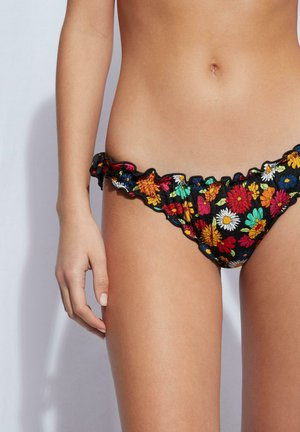 Bikini bottoms - fiori fondo nero