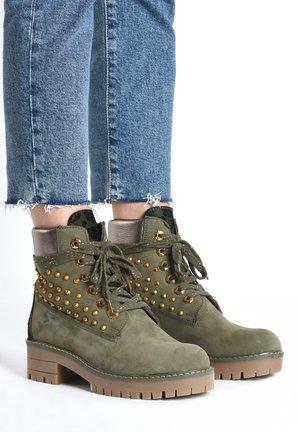 Lace-up ankle boots - khaki khk