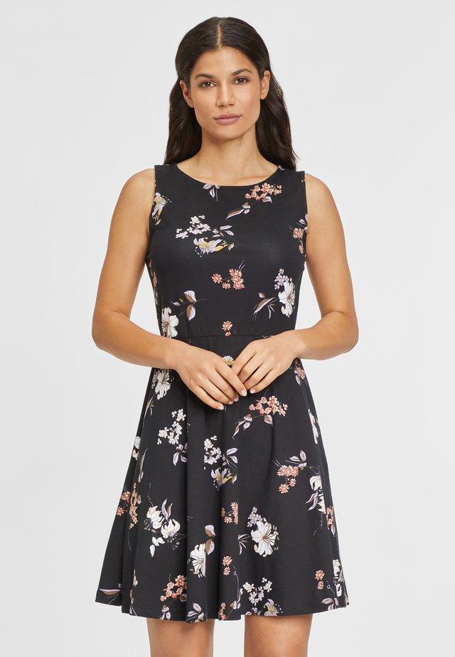 Korte jurk - schwarz geblümt