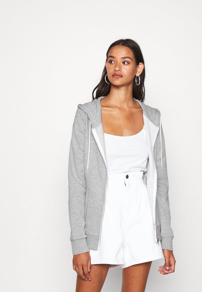 Even&Odd - Regular Fit Zip Sweat Jacket Contrast Cord - Hettejakke - mottled light grey