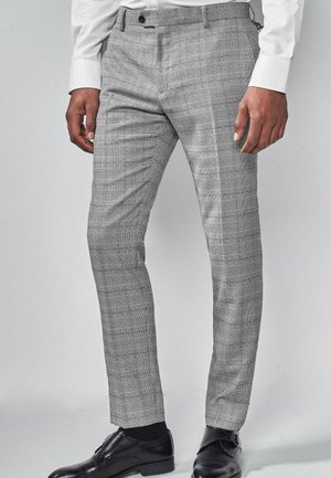 LIGHT GREY SKINNY FIT CHECK SUIT TROUSERS - Suit trousers - grey