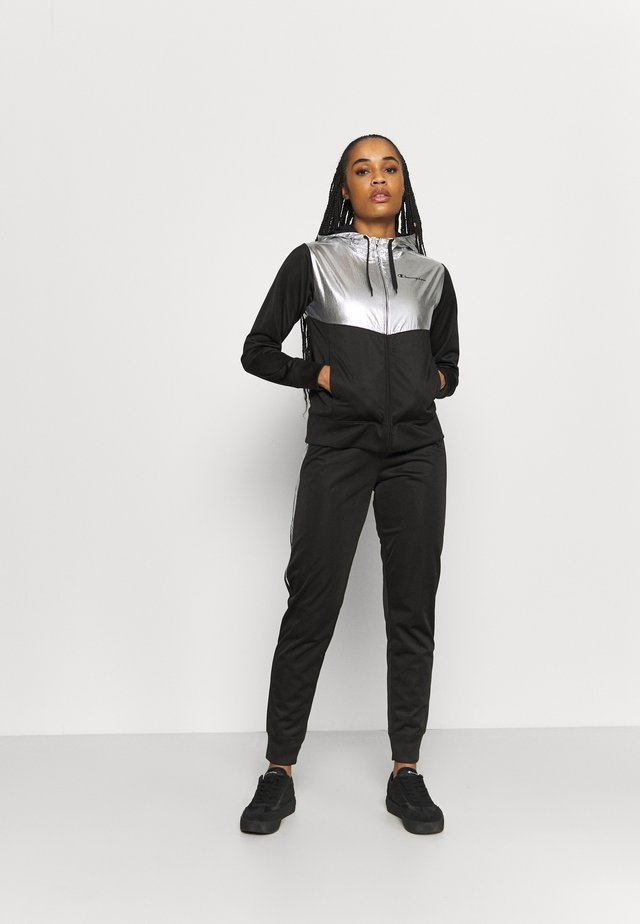 HOODED FULL ZIP SUIT SET - Verryttelypuku - black