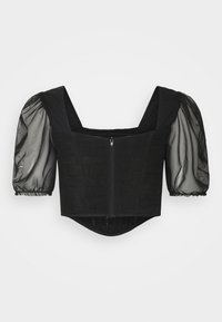 Missguided - PUFF SLEEVE CORSET - Bluser - black - 1
