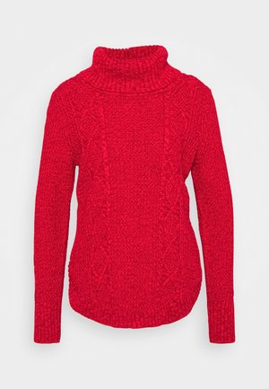 CABLE T NECK - Pullover - modern red