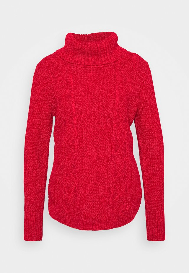 CABLE T NECK - Sweter - modern red