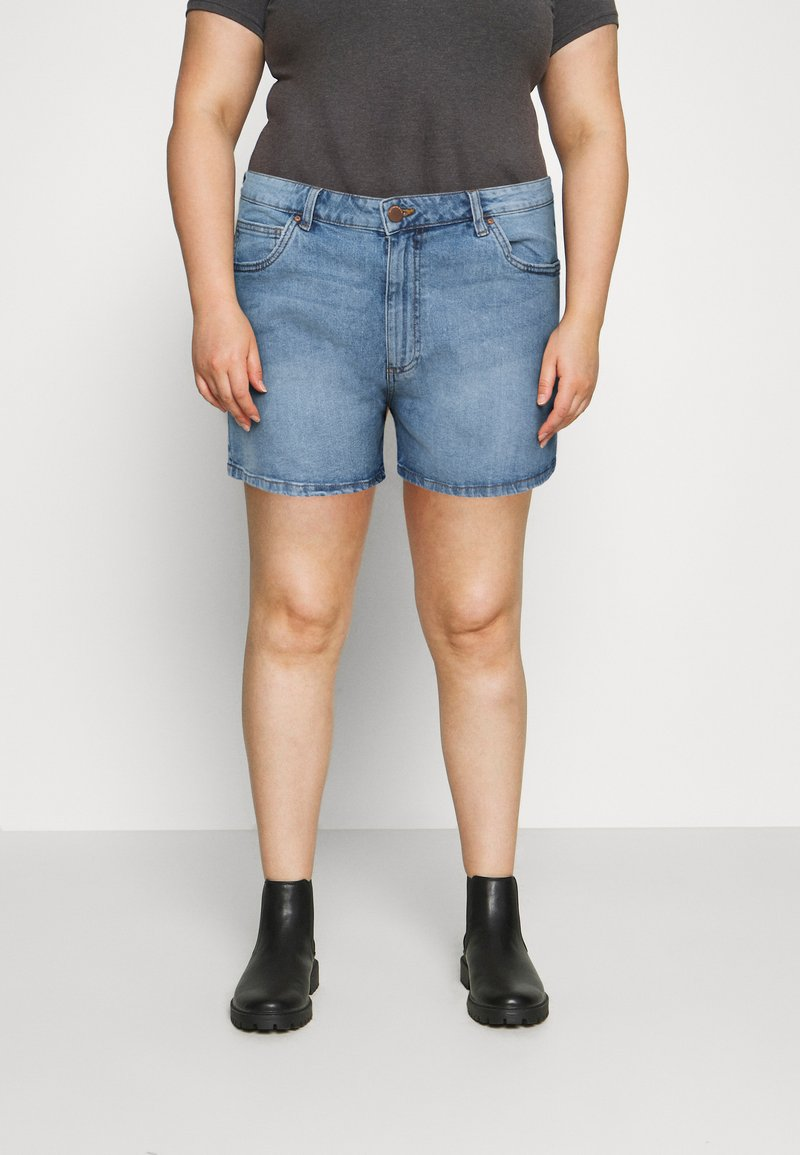 Cotton On Curve - MOM HIGH WAIST - Jeansshorts - jetty blue