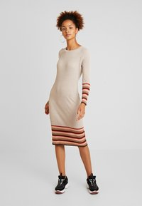 Vila - VIHELENI STRIPE DRESS - Jumper dress - natural melange/toffee - 0