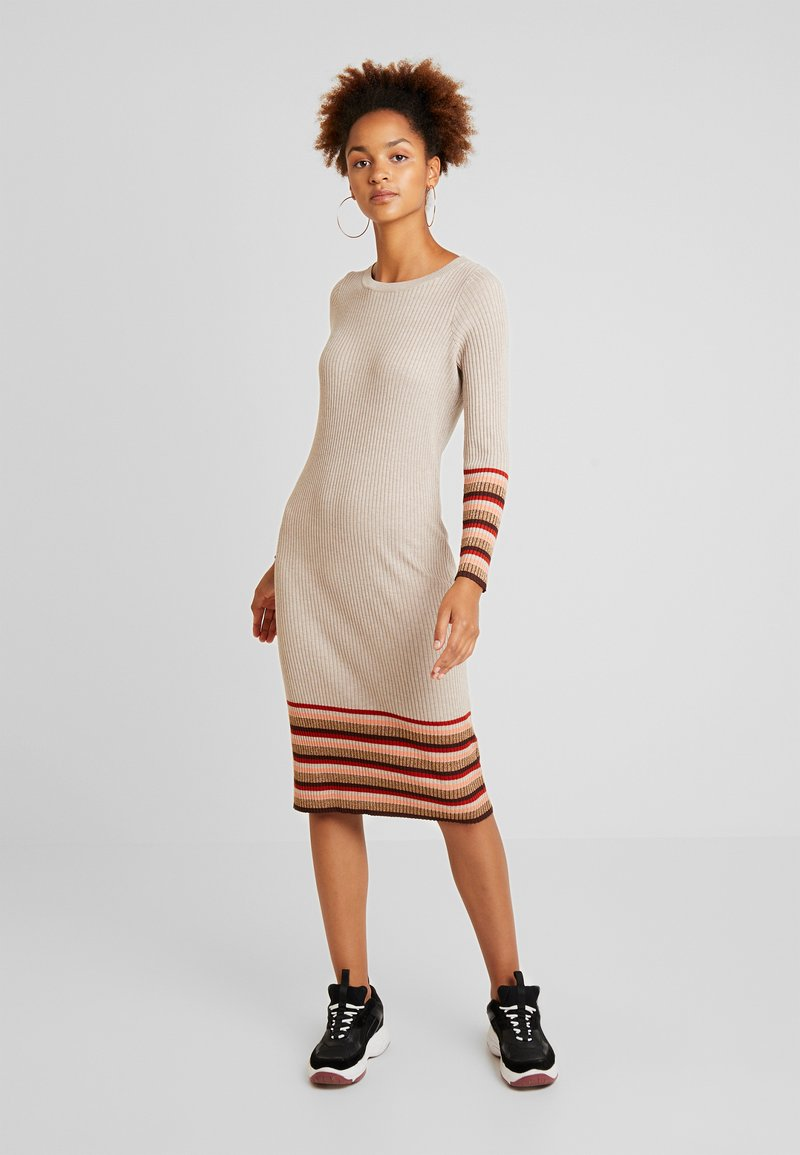 Vila - VIHELENI STRIPE DRESS - Jumper dress - natural melange/toffee