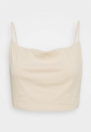 SPAGHETTI STRAP COWL NECK CROPPED - Top - beige