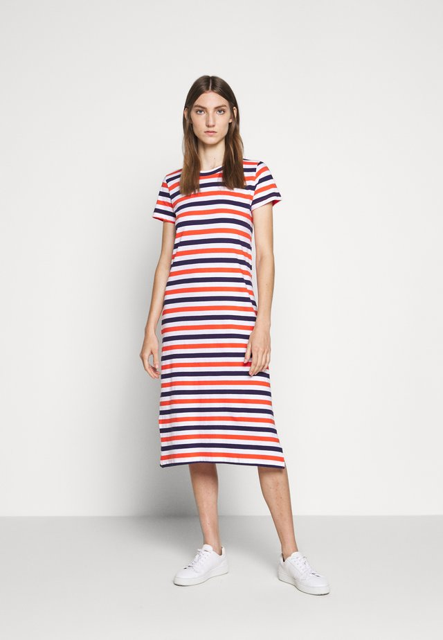MIDI DRESS IN STRIPE - Jerseykjole - cherry/dosido/navy/red