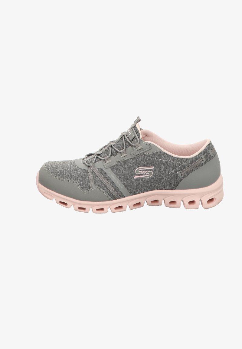 Skechers - GLIDE-STEP - Trainers - gray heathered mesh/ durabuck/ light pink trim