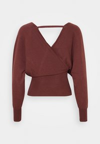 Missguided - WRAP FRONT BATWING  - Strickpullover - mocha - 1