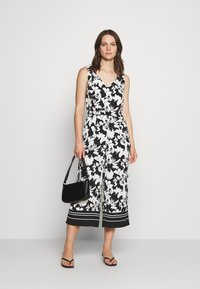 comma - OVERALL 3/4 - Jumpsuit - black/white - 1