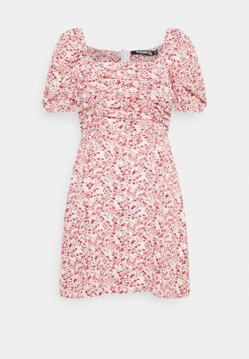 DITSY RUCHED PUFF SLEEVE SKATER DRESS