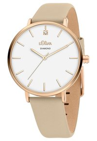 s.Oliver - S.OLIVER DAMEN-UHREN ANALOG QUARZ - Watch - beige - 4