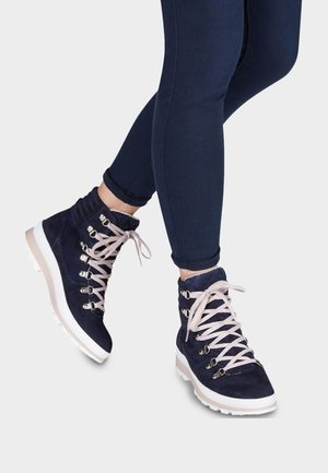 Lace-up ankle boots - navy/rose