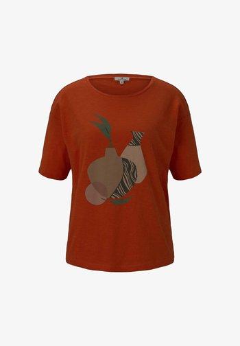 FRONTPRINT OVERSIZED - Print T-shirt - strong flame orange