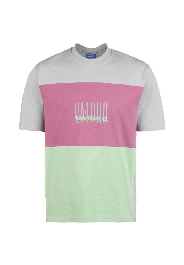 T-shirt print - ash grey / aqua mint / cassis
