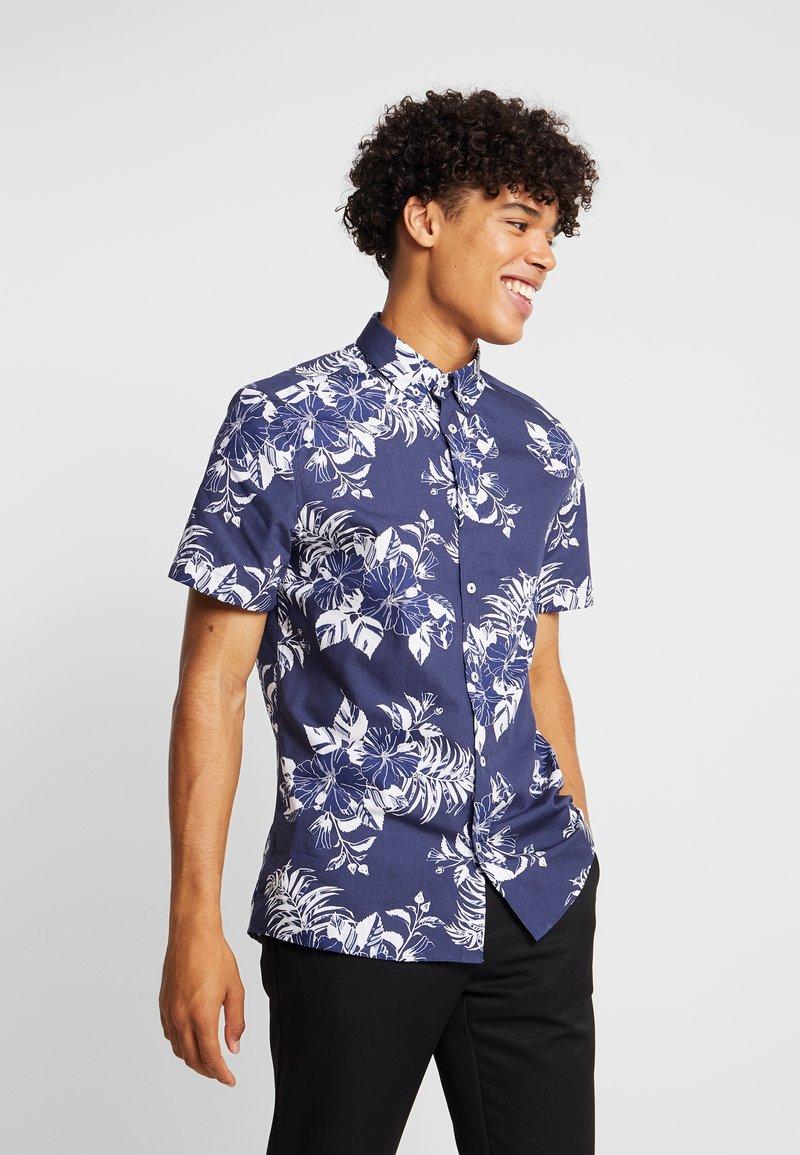 Burton Menswear London - LARGE FLORAL - Vapaa-ajan kauluspaita - navy