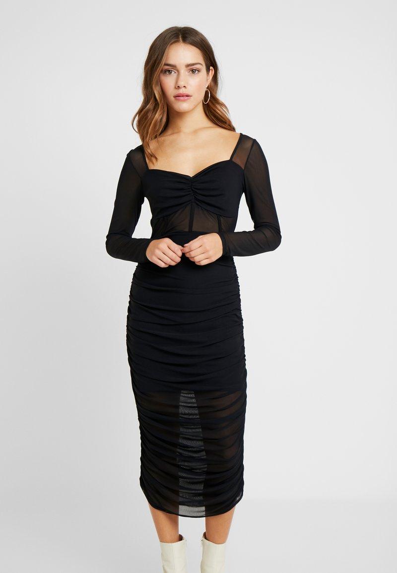Missguided Petite - RUCHED MIDI DRESS - Vestido de cóctel - black
